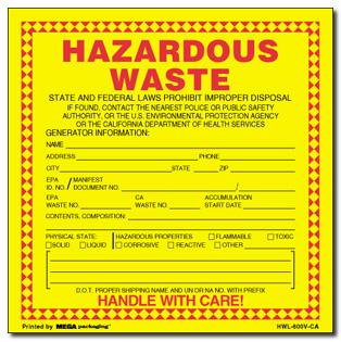 main stock labels stock label dot labels stock label hwl 600v ca hazardous waste - Hazardous Waste Labels
